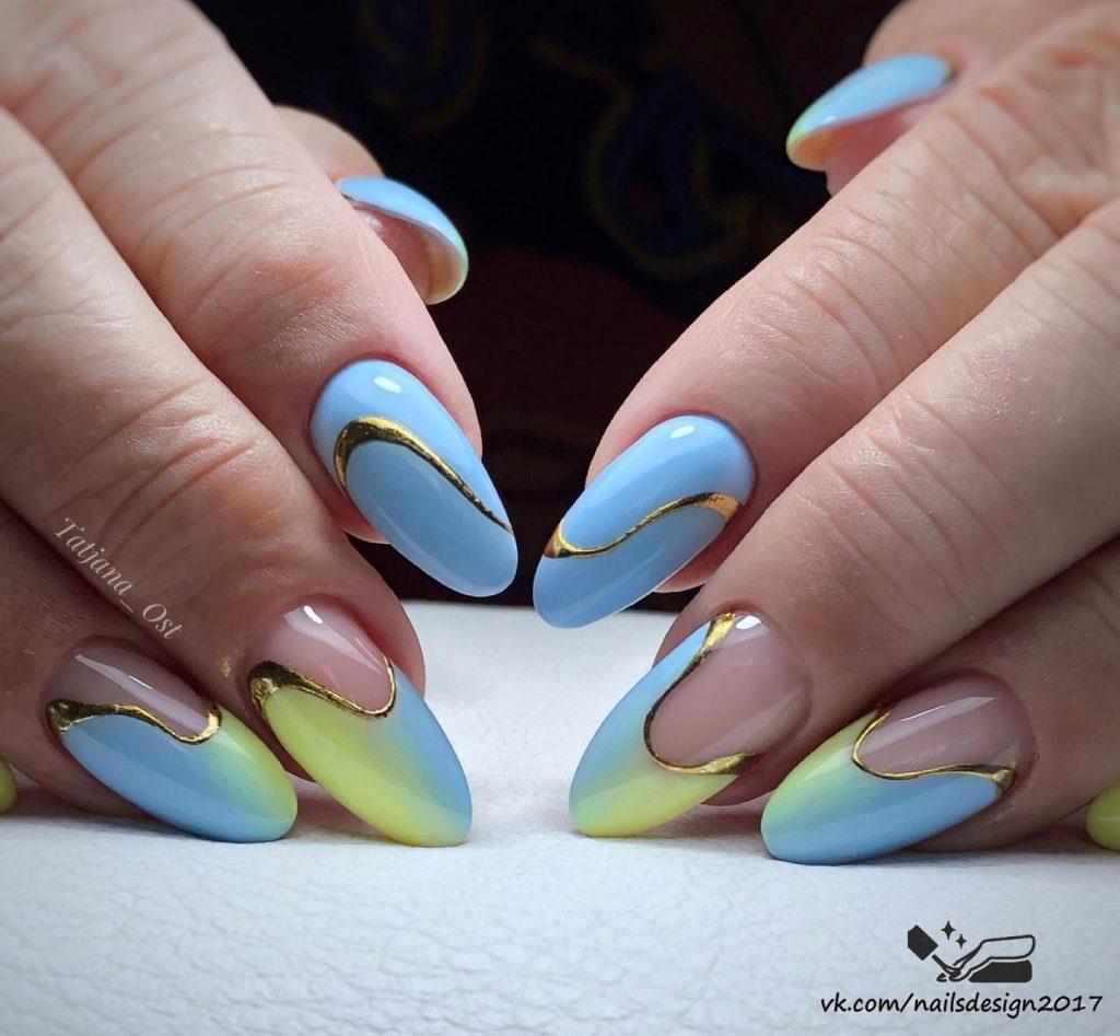 волнистые линии градиент желто-голубой с золотым декором