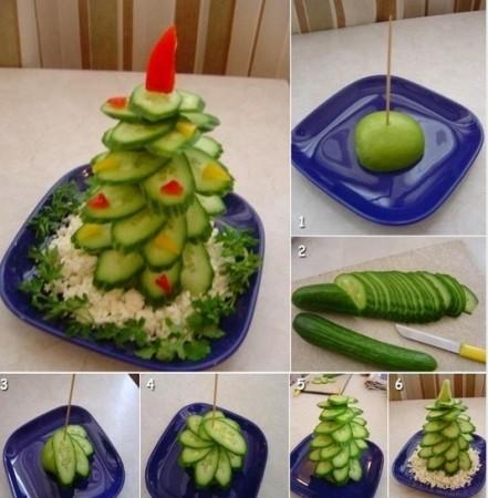 елка из огурцов овощная нарезка на стол