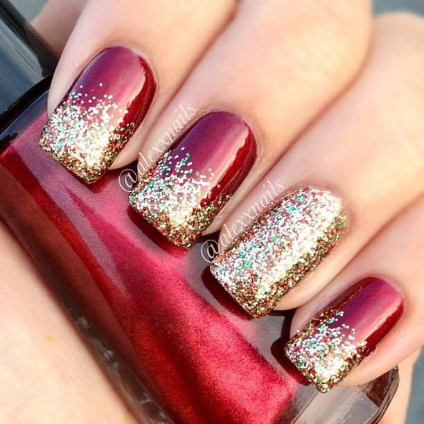 Red And Gold Christmas Nail Art Best Nail Designs 2018