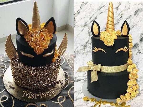 детские торты пони черно-золотые