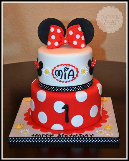 как украсить торт в стиле Минни для девочки