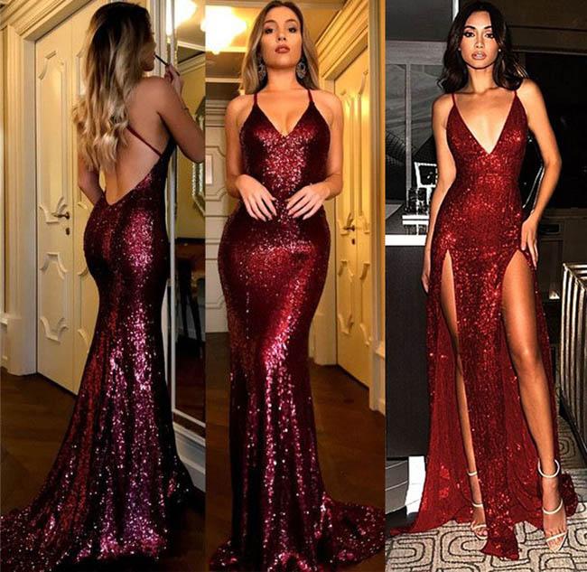 фото модных платьев бордо блестящие