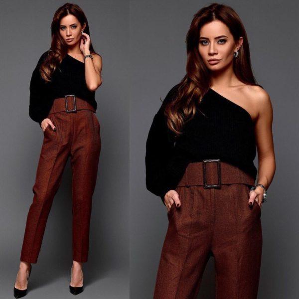 модные брюки 2019 короткие зауженные с поясом и бляхой фото