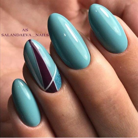 маникюр 2019-2020 мятный цвет ногтей бирюза