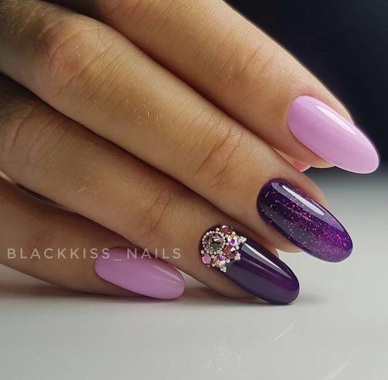 сиренево-фиолетовый дизайн ногтей новинки 2019 маникюр