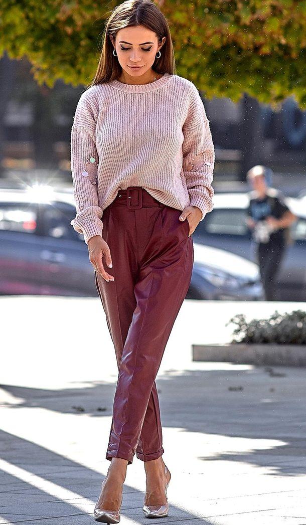 кожаные брюки 2019-2020 фото