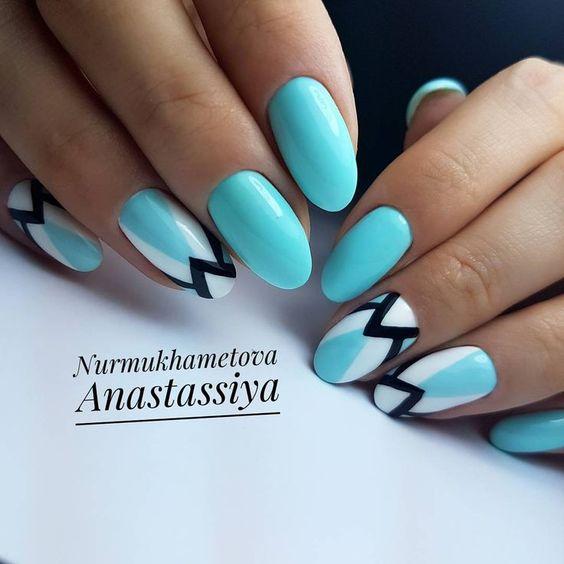 бирюзовый маникюр 2019-2020 идеи оформления ногтей