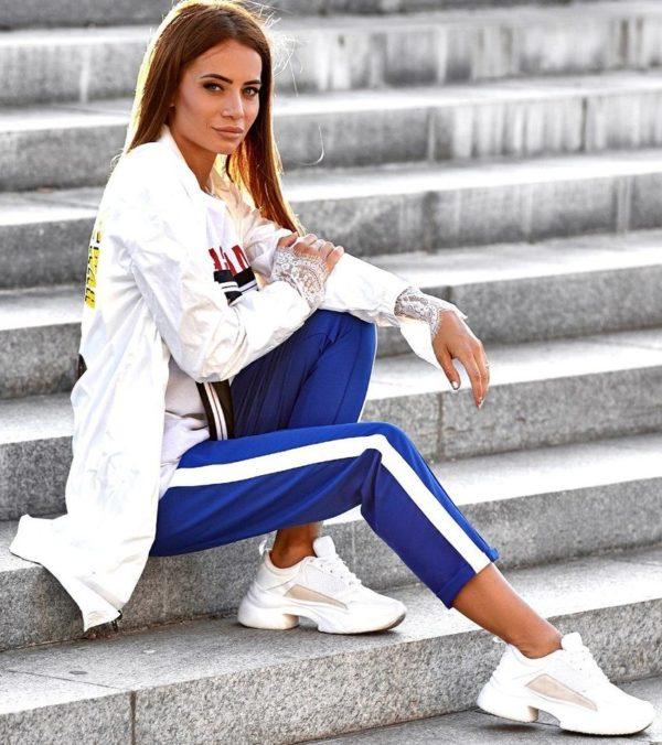 модные брюки 2019 укороченные фото с лампасами