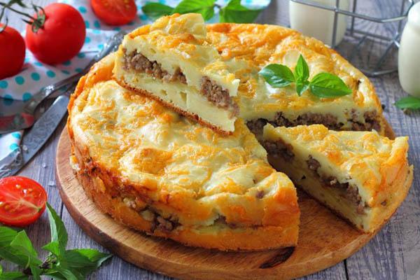 заливной пирог с фаршем и картошкой рецепт