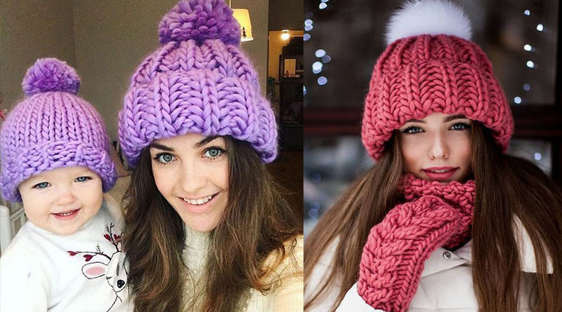 модные стильные шапки 2019-2020 крупная вязка