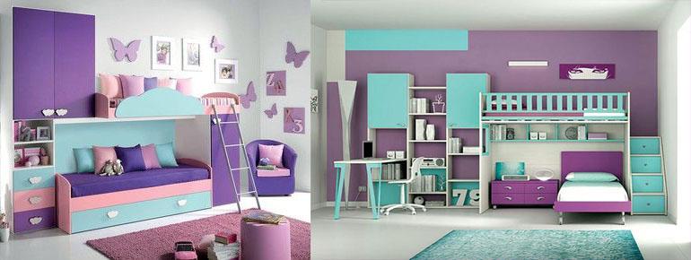 подростковая девичья комната сиреневый фиолетовый и бирюзовый цвета