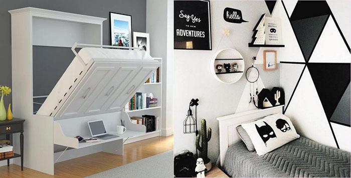интерьер комнаты мальчика идеи фото серый белый черный цвета
