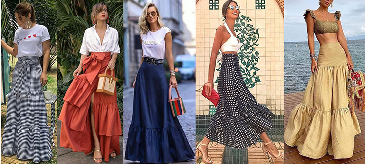 макси юбки длинные со сборками