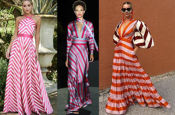 модные платья полоска