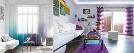шторы в интерьере гостиной 2021 градиент цветные радуга