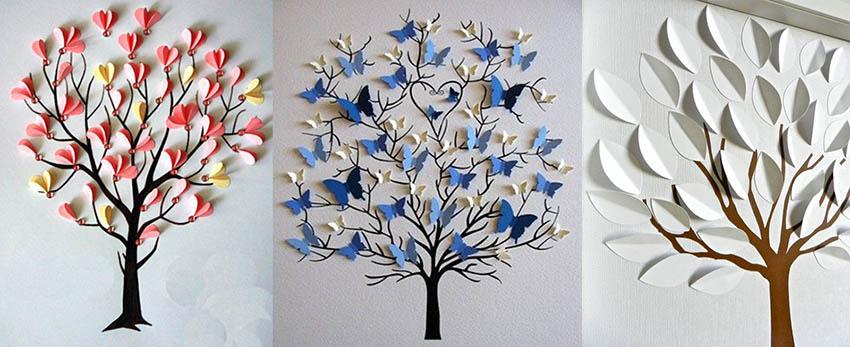 бумажные деревья детские поделки для школы