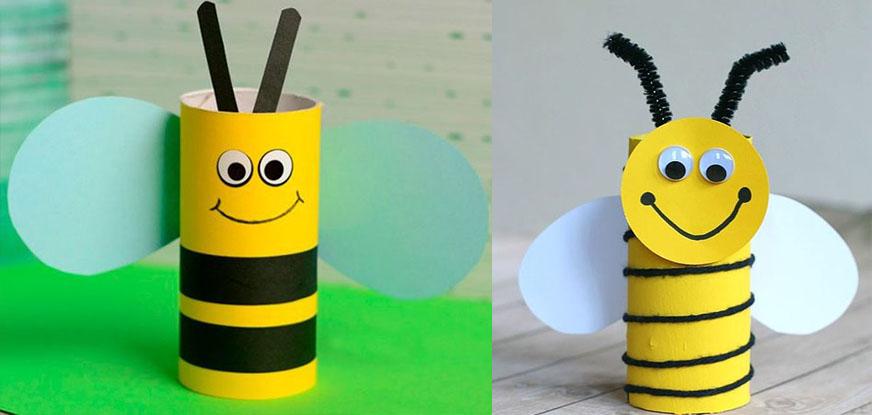 пчелка из туалетной втулки детям в школу