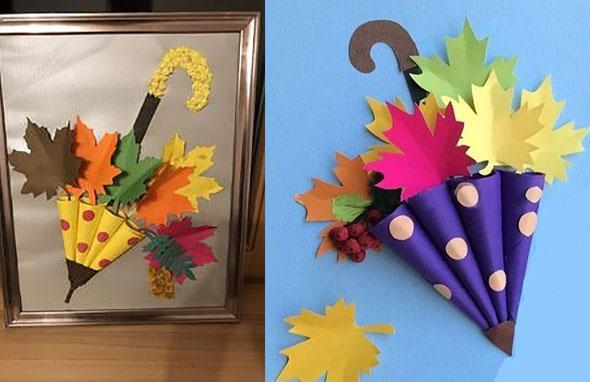 осенние поделки зонтик из цветного картона детсад школа