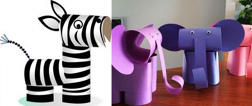 животные своими руками из картона и втулки слоник и зебра