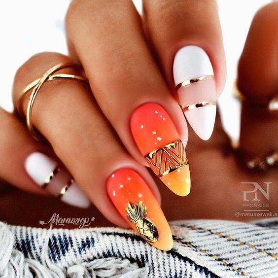 золотые полоски красивый дизайн ногтей