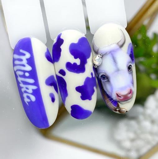 модный маникюр сине-фиолетового цвета коробка 2021 милка