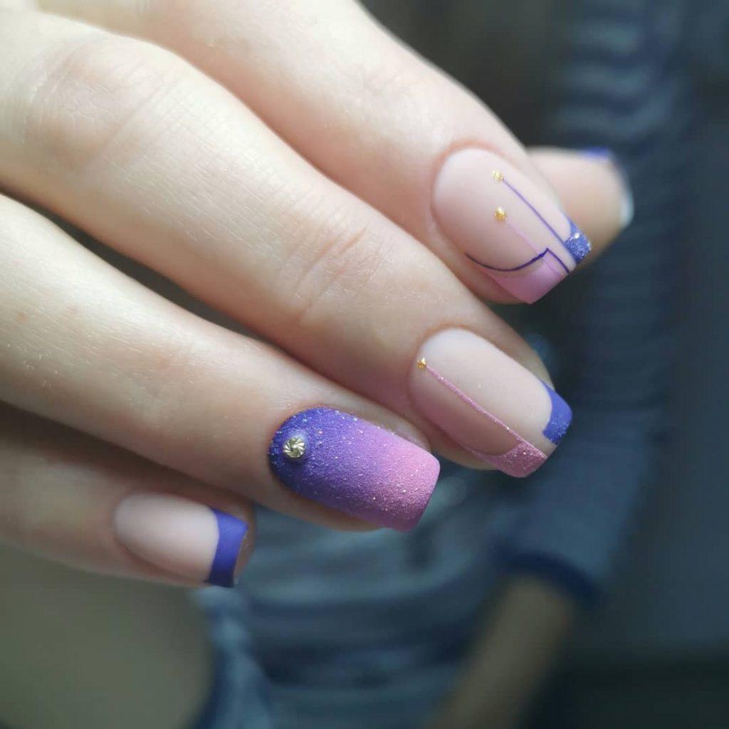 безупречный градиент сиреневый фиолетовый френч песок