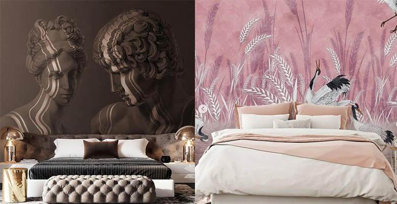 стильные обои в спальне интересные дизайнерские идеи