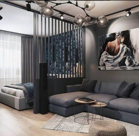 зонирование комнаты спальня и гостиная через перегородку мягкая мебель