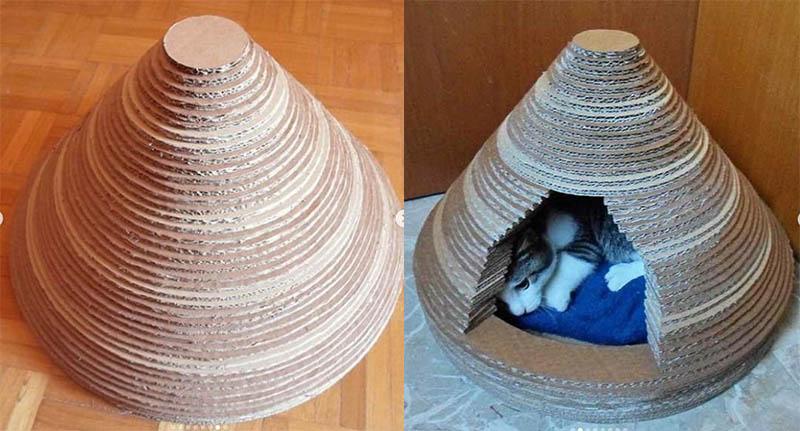 дом из картона для кошки своими руками пошагово
