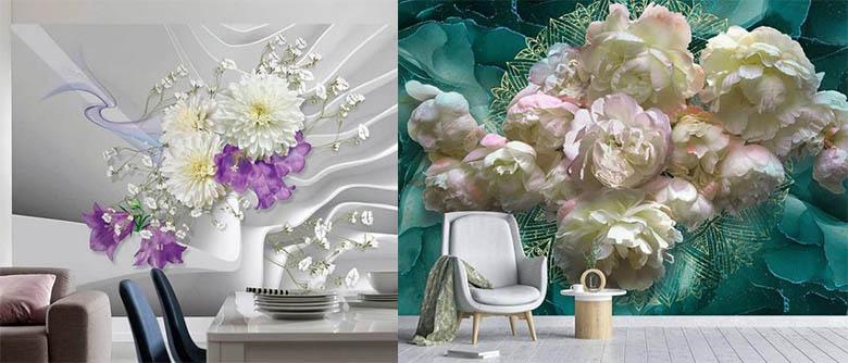 фотообои цветы для стен интерьер