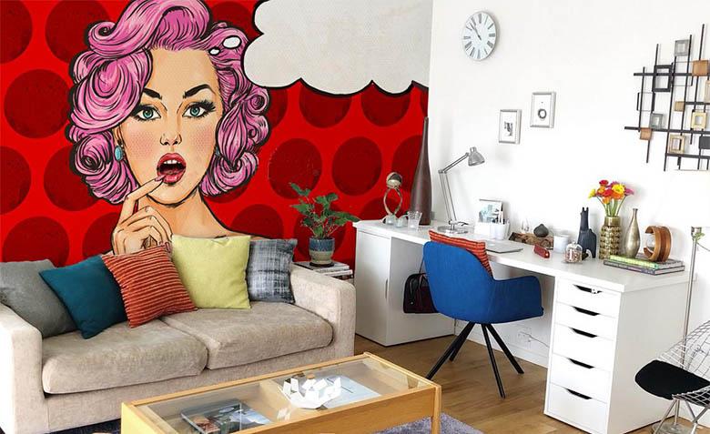 фотообои в интерьере поп-арт пин-ап девушка в красных оттенках фотообои идеи фото