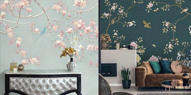 цветы на обоях фото зеленые оттенки